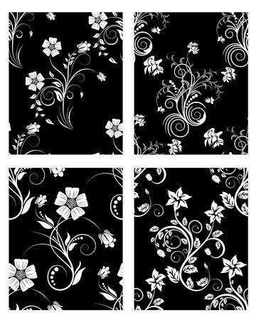Conjunto de fondos florales de vector transparente. Para fácil trama transparente haciendo sólo arrastre uno de los cuatro grupo en barra de muestras y utilizarlo para llenar cualquier contornos.