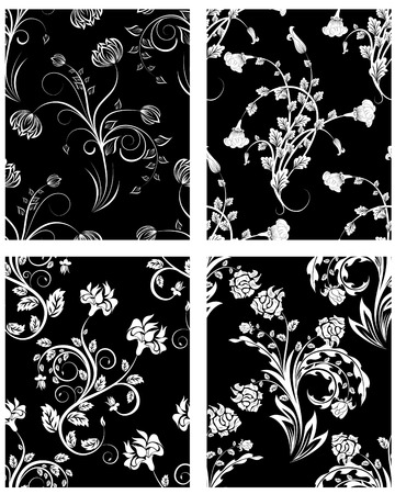 floral vector: Set of seamless vector floral backgrounds. For easy making seamless pattern just drag one of four group into swatches bar, and use it for filling any contours.