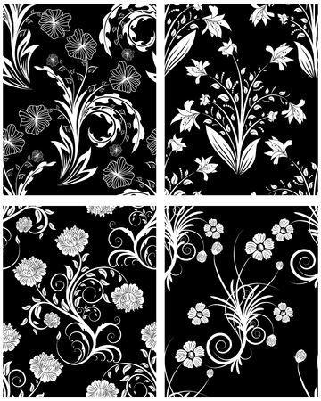 Set of seamless vector floral backgrounds. For easy making seamless pattern just drag one of four group into swatches bar, and use it for filling any contours. Stock Vector - 5804631