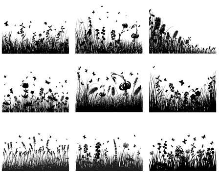 Vector grass silhouettes backgrounds set. All objects are separated. Stock Vector - 5837819