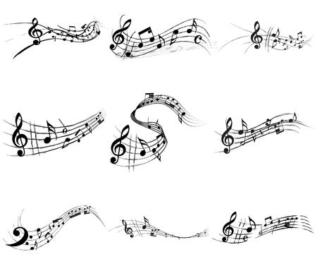 minims: Vector musical notes staff backgrounds set for design use Illustration