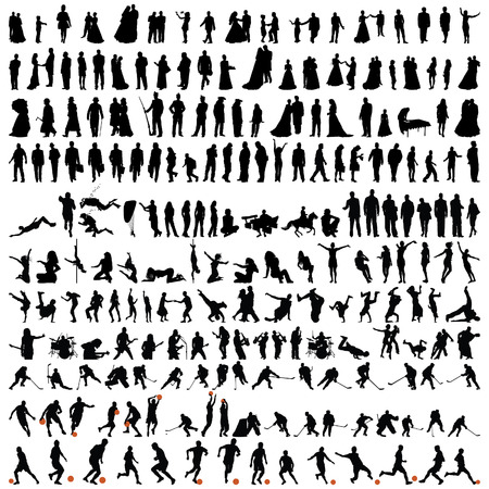 back icon: Biggest collection of people silhouettes  in different poses Illustration