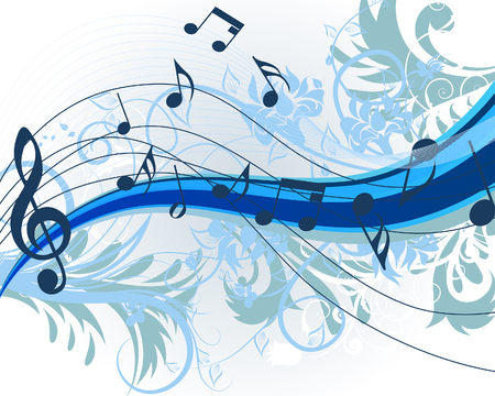floral music theme for design use. Vector illustration. Vector