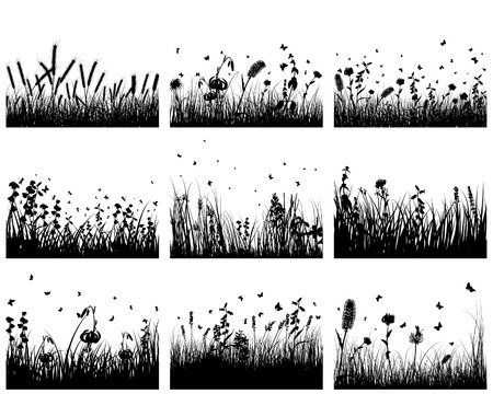 landscaped garden: Vector grass silhouettes backgrounds set. All objects are separated.