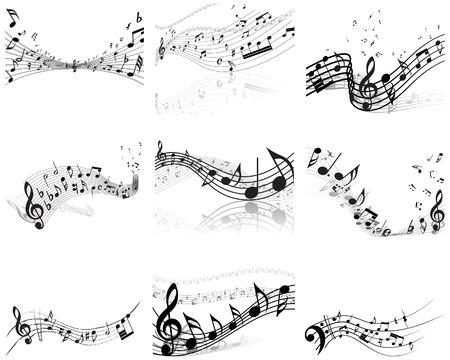 Personal de notas musicales de vector de fondos para el uso de diseño