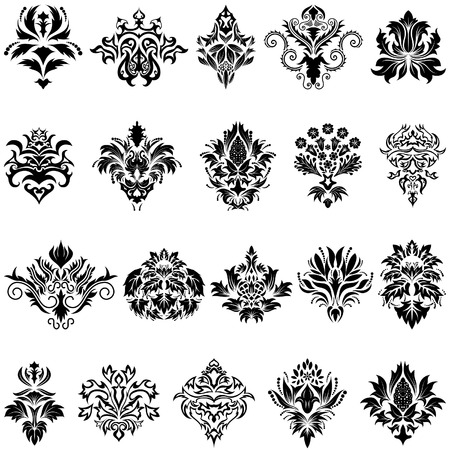 Abstract damask emblem set for design use Stock Vector - 5868398