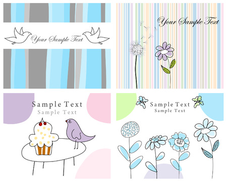 Set of four vector greeting cards for design use Vector