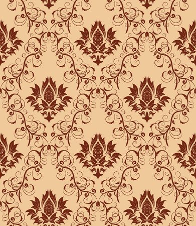 Damask seamless vector background.  For easy making seamless pattern just drag all group into swatches bar, and use it for filling any contours. Stock Vector - 5910803