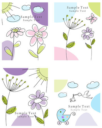 Set of four vector greeting cards for design use Stock Vector - 5910808
