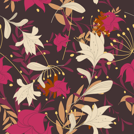 Seamless vector floral background. For easy making seamless pattern just drag all group into swatches bar, and use it for filling any contours. Stock Vector - 5983353
