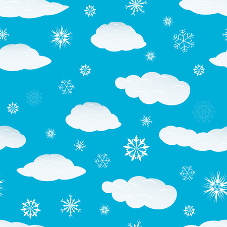 Seamless snowflakes and clouds background for winter and christmas theme Stock Vector - 5983453