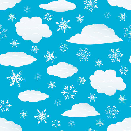 Seamless snowflakes and clouds background for winter and christmas theme Vector