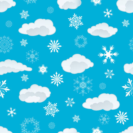 Seamless snowflakes and clouds background for winter and christmas theme Stock Vector - 5983500