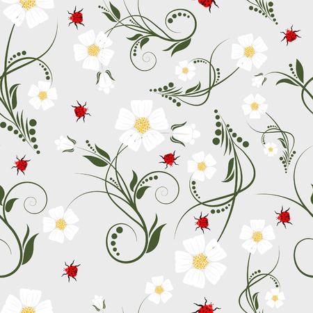 Nahtlose Vektor floral Background. Einfach machen seamless Pattern nur ziehen Sie alle Gruppe in Farbfelder Bar, und verwenden Sie es zum Ausfüllen alle Konturen.