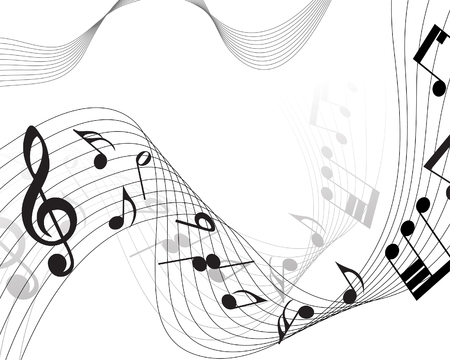 trills: Vector musical notes staff background for design use Illustration