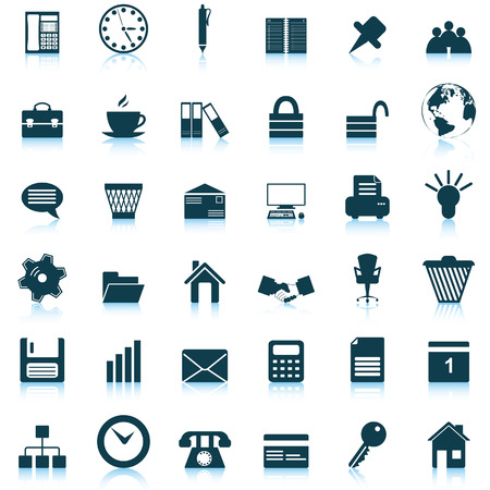 office icons: Business and office set of different vector web icons Illustration