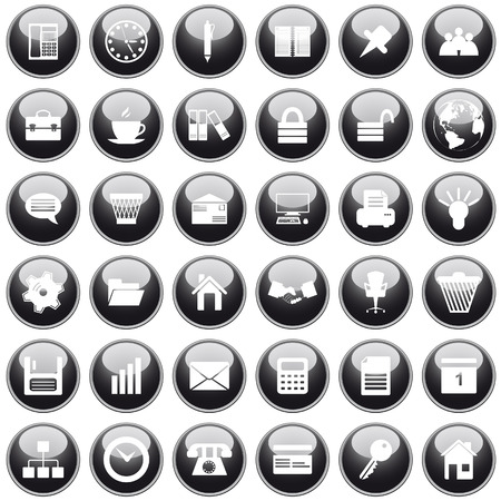 shakes: Business and office set of different vector web icons Illustration