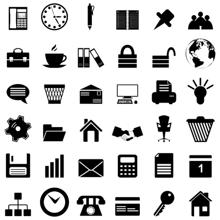 pc icon: Business and office set of different vector web icons Illustration
