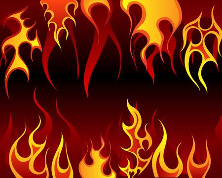Inferno fuoco vettoriale sfondo per la progettazione