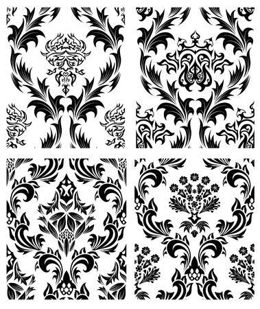Damask seamless vector patterns set.  For easy making seamless pattern just drag all group into swatches bar, and use it for filling any contours. Stock Vector - 6020119
