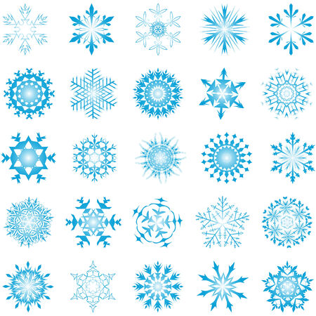 Collection of vector snowflakes in different shape Illustration