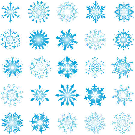 Collection of vector snowflakes in different shape Stock Vector - 6020128