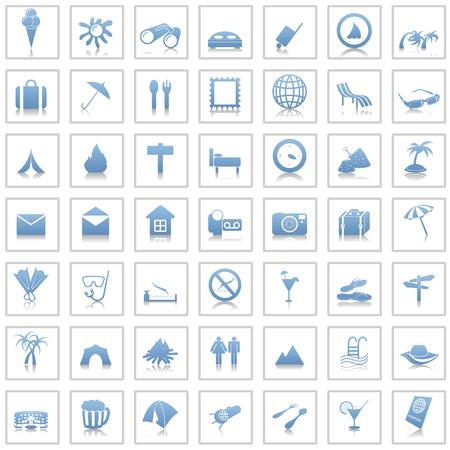 Ensemble de voyage de différents vecteurs web icônes Vecteurs