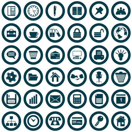 lock icon: Business and office set of different vector web icons Illustration