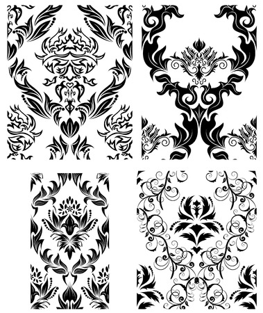 Damask seamless vector patterns set.  For easy making seamless pattern just drag all group into swatches bar, and use it for filling any contours. Vector