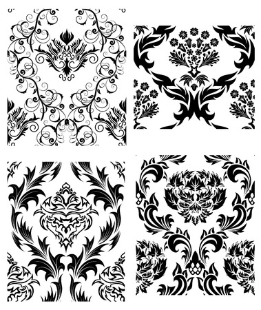 Damask seamless vector patterns set.  For easy making seamless pattern just drag all group into swatches bar, and use it for filling any contours.