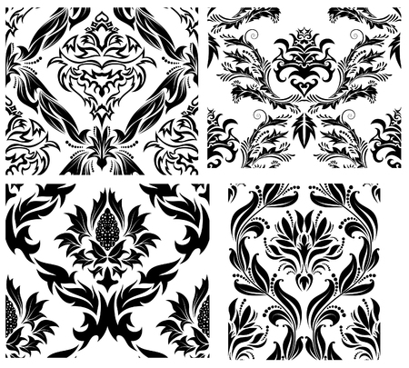 Damask seamless vector patterns set.  For easy making seamless pattern just drag all group into swatches bar, and use it for filling any contours. Stock Vector - 6021015