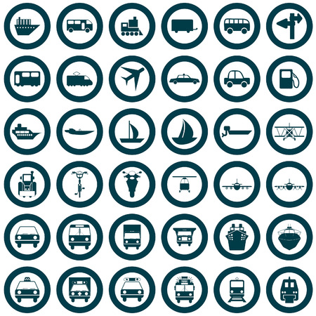 motorcycle officer: Transportation set of different vector web icons
