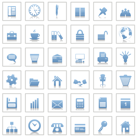 pc icon: Business and office set of different web icons