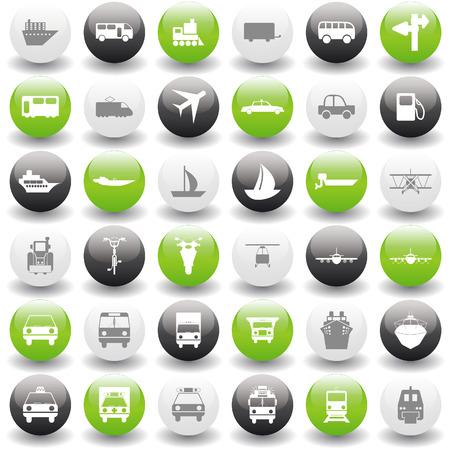 motor officer: Transportation set of different web icons Illustration