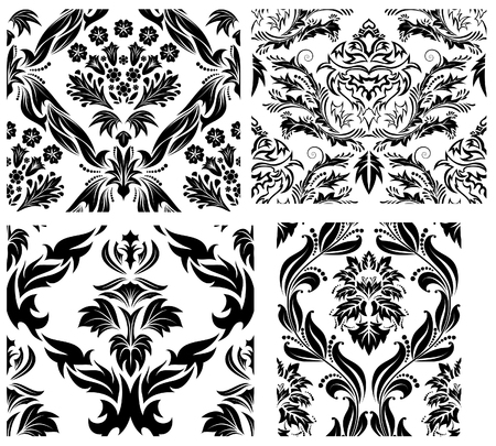 Damask seamless vector patterns set.  For easy making seamless pattern just drag all group into swatches bar, and use it for filling any contours. Stock Vector - 6052315