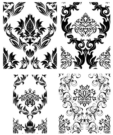 Damask seamless vector patterns set.  For easy making seamless pattern just drag all group into swatches bar, and use it for filling any contours. Stock Vector - 6052307