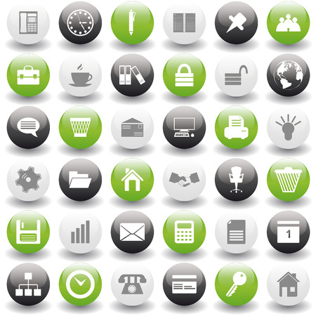 time icon: Business and office set of different vector web icons Illustration