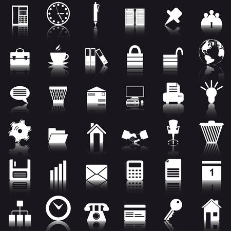 Business and office set of different vector web icons Vector