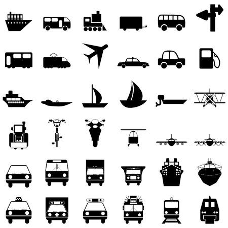 transportes: Conjunto de transporte de iconos de web de vector de diferentes