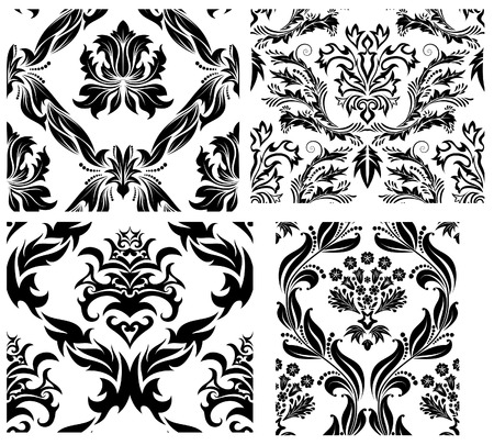 Damask seamless vector patterns set.  For easy making seamless pattern just drag all group into swatches bar, and use it for filling any contours. Stock Vector - 6052310