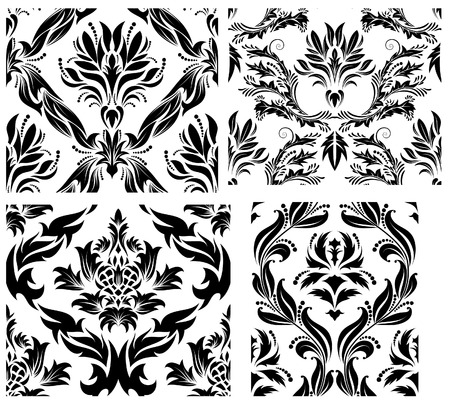 Damask seamless vector backgrounds set.  For easy making seamless pattern just drag all group into swatches bar, and use it for filling any contours. Stock Vector - 6056741