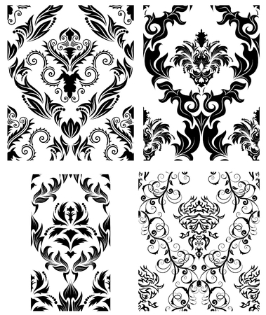 Damask seamless vector backgrounds set.  For easy making seamless pattern just drag all group into swatches bar, and use it for filling any contours. Stock Vector - 6056745