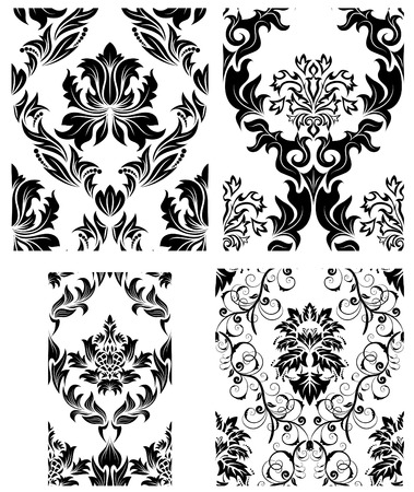 Damask seamless vector patterns set.  For easy making seamless pattern just drag all group into swatches bar, and use it for filling any contours. Stock Vector - 6056723