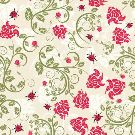 filling: Seamless vector floral background. For easy making seamless pattern just drag all group into swatches bar, and use it for filling any contours. Illustration