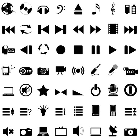 pc icon: Vector collection of different music themes icons