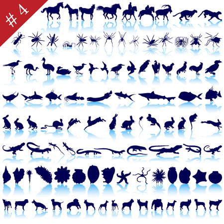 Set of  different animals, birds, insects and fishes  vector silhouettes  Vector