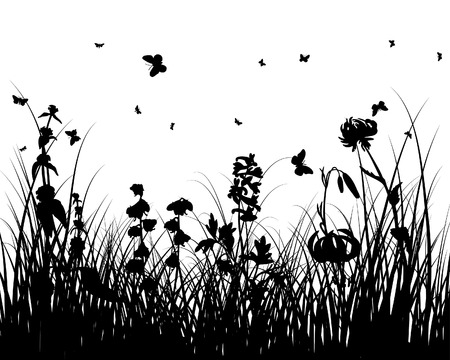 Vector grass silhouettes background. All objects are separated. Stock Vector - 6094587
