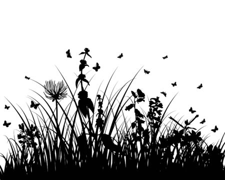 Vector grass silhouettes background. All objects are separated. Stock Vector - 6094589