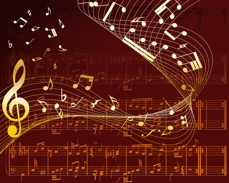 Vector musical notes staff background for design use Stock Vector - 6114845