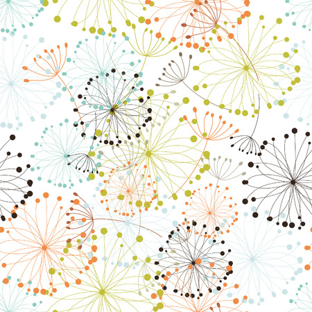 backdrop: Seamless vector floral background. For easy making seamless pattern just drag all group into swatches bar, and use it for filling any contours. Illustration